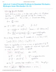 Sypherically Symmetric Potentials Notes
