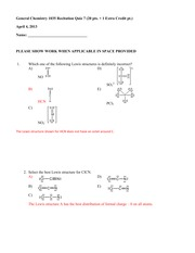 Chem 1035 Quiz 7 Answer Key