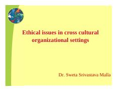 Cross cultural organisations ethics