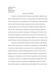 REL 200 Journey to New Orleans Essay