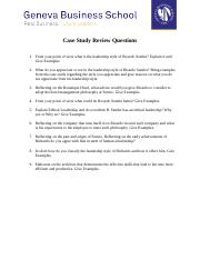 MBA 609 LEADERSHIP - Case Study Questions