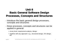 Part 1 - Unit 6 - Some Basic General Software Design Concepts and Structures - Copy