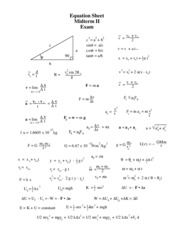 Equation Sheet Midterm II