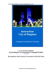 Solution Manual for City of Bingham City ofithville -