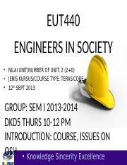EUT440 LECT WK 2 SEM I 2013-2014 SAFETY & HEALTH ISSUES