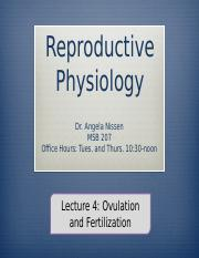 27 Reproductive Physiology 3120 Lecture 4 OWL