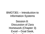 Session 8 BMGT301 - Spr 2012 - Zara HW, Excel 2 - rev 1