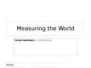 MeasuringTheWorld