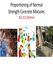Lecture 6 - Concrete Mixture Proportioning - ACI 211 Method (Revised)