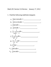 classwork/homework #1 indefinite integrals section 5.6 review