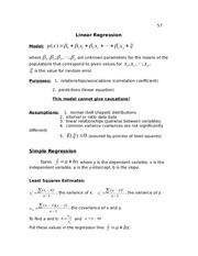 Lecture Notes, Linear Regression