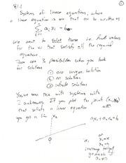 Math 1ZC3 - System of linear equations notes