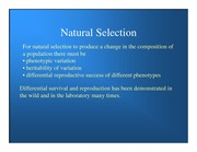 Lecture Notes Natural Selection