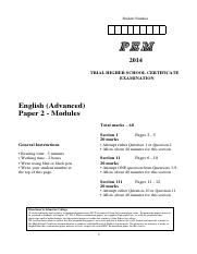 PEM 2014 English Advanced Paper 2 Trial HSC