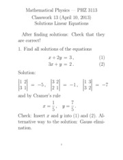 Homework Solution on Linear Equations