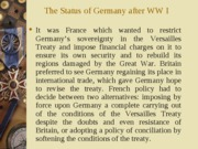 III. The Status of Germany after the First World War
