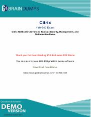 Citrix 1y0-340 Exam Dumps PDF demo upated 2018.pdf