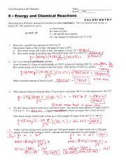 Worksheets Calorimetry Worksheet calorimetry 2 south pasadena ap chemistry name period date pages apch06 ans pdf