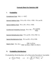Formula Sheet for Midterm 2