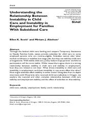 Understanding the Relationship Between Instability in Child Care and Instability in Employment for F