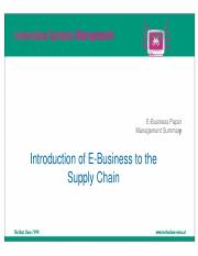 Introduction of E-Business to the Supply Presentation