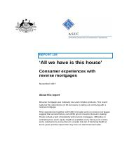 ASIC Report 109 All We Have is This House