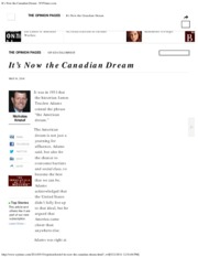 It's Now the Canadian Dream - NYTimes.com
