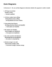 Worksheet Euler Diagrams