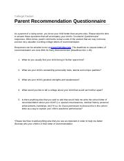 Parent Recommendation Questions _drtobe