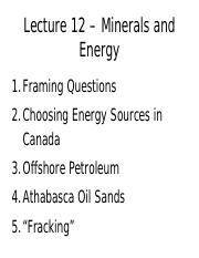 GEOG 2EI3 Lecture 12: Minerals and Energy