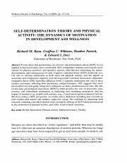 2009 Self-Determination Theory and physical activity; The dynamics of motivation in development and