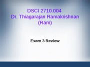 DSCI2710 Exam 3 Review