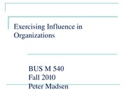 Exercising Influence in Organizations