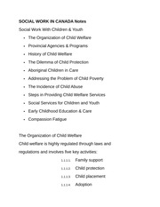SOCIAL WORK IN CANADA Notes