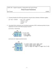 Final Exam Solution Spring 2002 on Introduction to Digital Logic and Computer Design