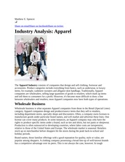 Apparel industry analysis - Article