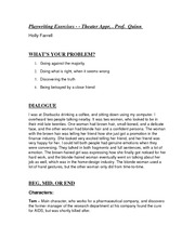 THEA 110 Playwriting Exercises