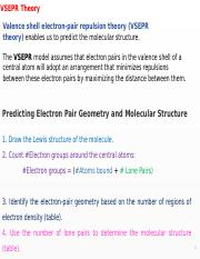Lecture notes Week 7-1 - VSEPR Theory Valence shell electron