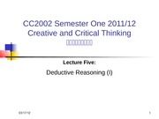 Lecture 5 Deductive Reasoning (I)