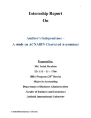 Internship Report on Auditor's Independence
