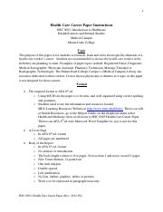 Health Care Career Paper Instructions 2014
