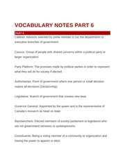 Vocabulary Notes Parts 6