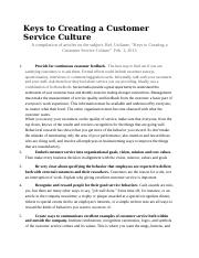 Keys to Creating a Customer Service Culture.doc