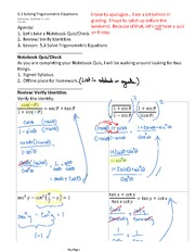 5.3 Solving Trigonometric Equations