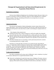 Managerial Organizational and Operational Requirements for Expansion