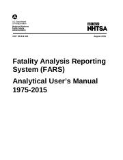 Fatality Analysis Reporting System (FARS) Analytical User's Manual 1975-2015