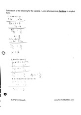 math homework: single variable linear equations