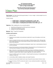 IT221 Week 1, Unit 1 Class Plan