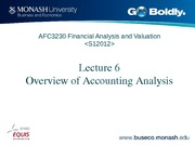 Lecture 6 AFC3230  Overview of accounting analysis