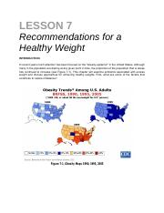 lesson 7 - Recs for a Healthy Weight